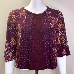 Burgundy Boho Lace Floral Cropped Top